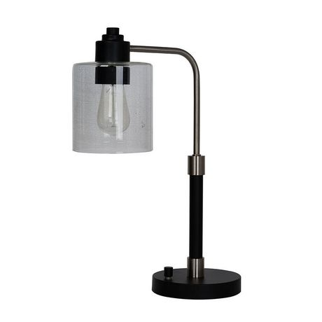 hometrends Black down Bridge Table Lamp with Brushed Steel Accents And Glass Shade - image 3 of 3