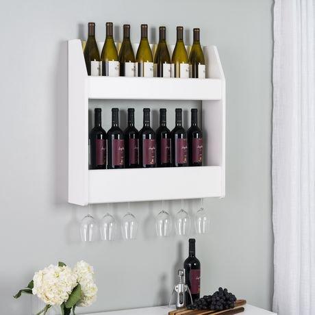 porte bouteille mural tablette double de prepac pour vins et spiritueux en fini noir walmart. Black Bedroom Furniture Sets. Home Design Ideas