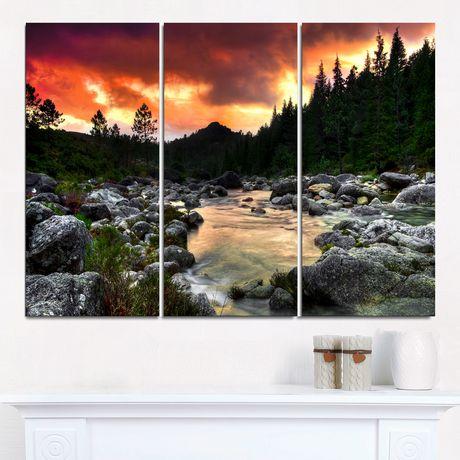 tableau mural tr s large design art bord paysage rivi re. Black Bedroom Furniture Sets. Home Design Ideas