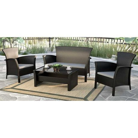 CorLiving 4pc Black Rope Weave Cascade Patio Set - image 1 of 6