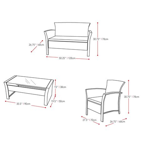 CorLiving 4pc Black Rope Weave Cascade Patio Set - image 6 of 6
