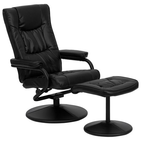Contemporary Black Leather Recliner and Ottoman with Leather Wrapped Base - image 1 of 6