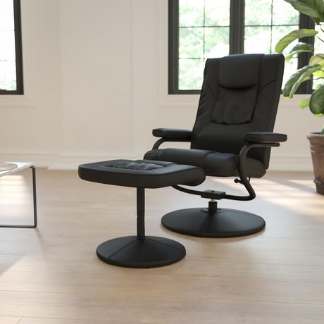 Contemporary Black Leather Recliner and Ottoman with Leather Wrapped Base - image 2 of 6