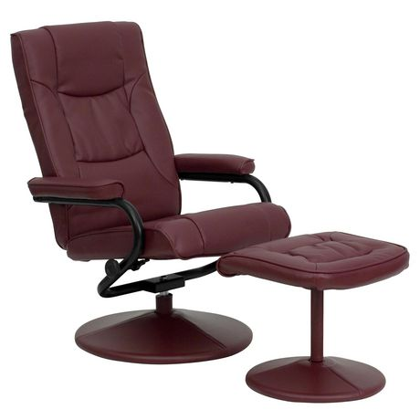 Contemporary Burgundy Leather Recliner and Ottoman with Leather Wrapped Base - image 1 of 5