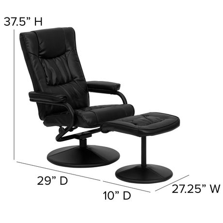 Contemporary Black Leather Recliner and Ottoman with Leather Wrapped Base - image 5 of 6