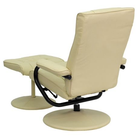 Contemporary Cream Leather Recliner and Ottoman with Leather Wrapped Base - image 6 of 6