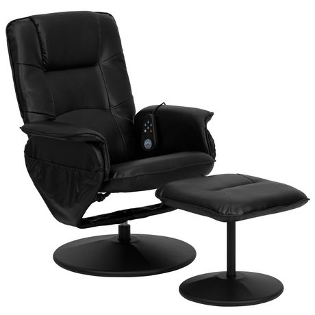 Massaging Black Leather Recliner with Deep Side Pockets and Ottoman - image 1 of 5