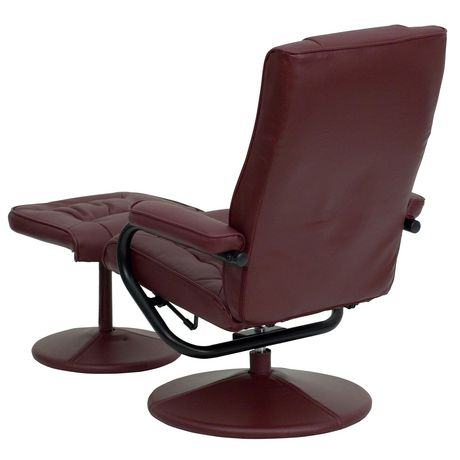 Contemporary Burgundy Leather Recliner and Ottoman with Leather Wrapped Base - image 5 of 5