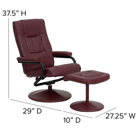 Contemporary Burgundy Leather Recliner and Ottoman with Leather Wrapped Base - image 4 of 5