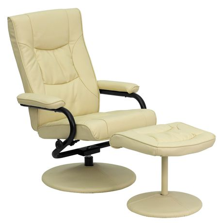 Contemporary Cream Leather Recliner and Ottoman with Leather Wrapped Base - image 1 of 6