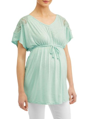 a4dbe6834fb7c V Neck Babydoll Top with Crochet Detail - image 1 of 4 ...