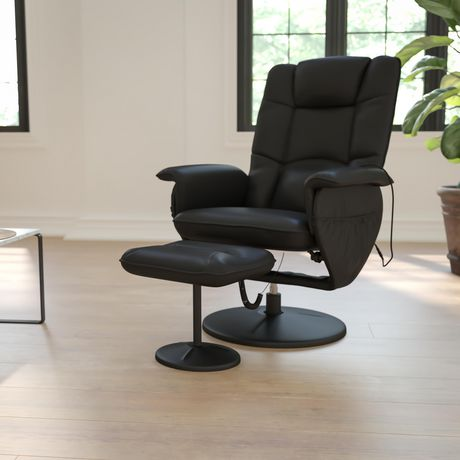 Massaging Black Leather Recliner with Deep Side Pockets and Ottoman - image 2 of 5