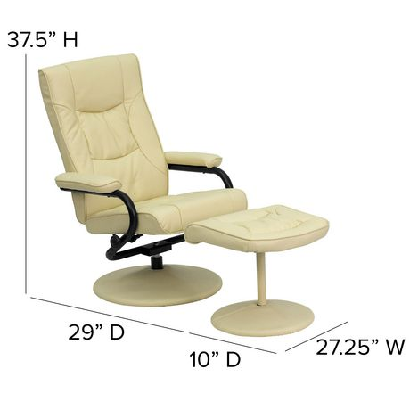 Contemporary Cream Leather Recliner and Ottoman with Leather Wrapped Base - image 5 of 6