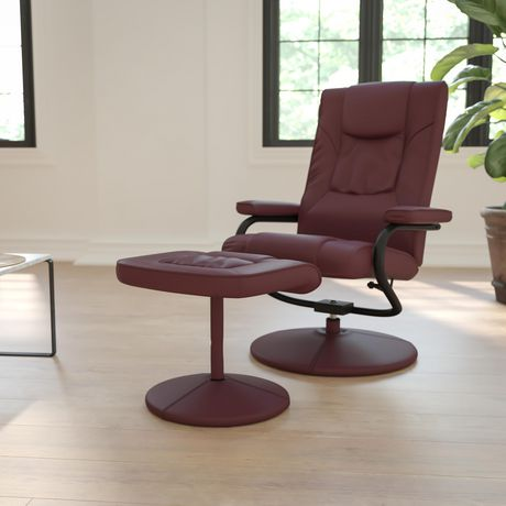 Contemporary Burgundy Leather Recliner and Ottoman with Leather Wrapped Base - image 2 of 5