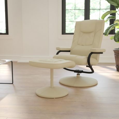 Contemporary Cream Leather Recliner and Ottoman with Leather Wrapped Base - image 2 of 6