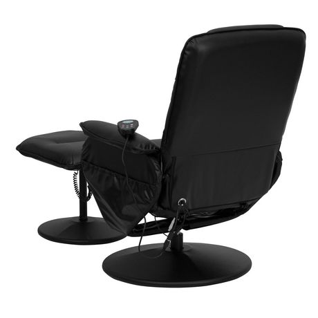 Massaging Black Leather Recliner with Deep Side Pockets and Ottoman - image 5 of 5