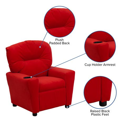 Contemporary Red Microfiber Kids Recliner With Cup Holder