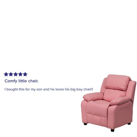 Fauteuil inclinable contemporain pour enfants rembourré Deluxe en vinyle rose et appui-bras avec rangement - image 5 de 5