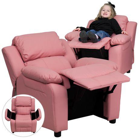 Fauteuil inclinable contemporain pour enfants rembourré Deluxe en vinyle rose et appui-bras avec rangement - image 3 de 5