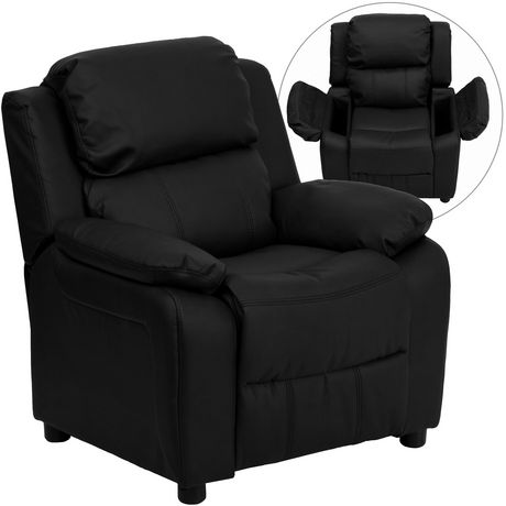 Deluxe Padded Contemporary Black Leather Kids Recliner