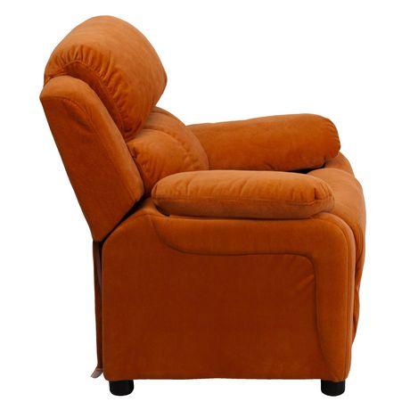 Fauteuil inclinable contemporain pour enfants rembourré Deluxe en microfibre orange et appui-bras avec rangement - image 2 de 5