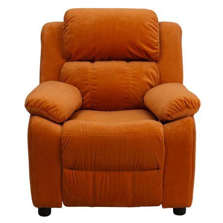 Fauteuil inclinable contemporain pour enfants rembourré Deluxe en microfibre orange et appui-bras avec rangement - image 4 de 5