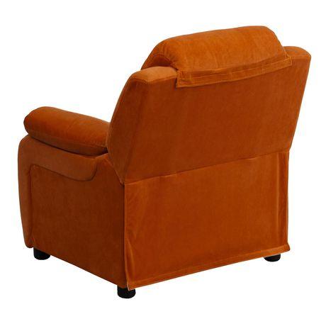 Fauteuil inclinable contemporain pour enfants rembourré Deluxe en microfibre orange et appui-bras avec rangement - image 3 de 5