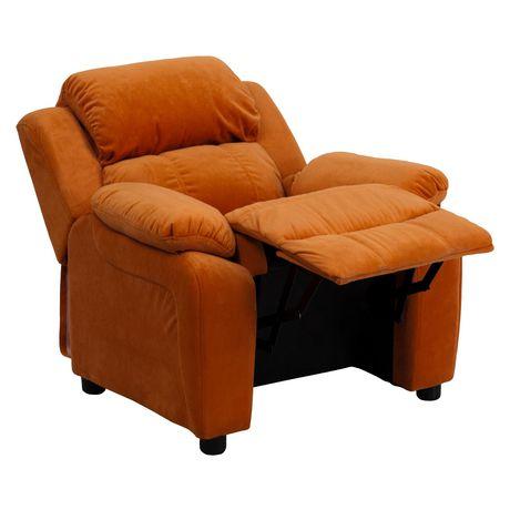 Fauteuil inclinable contemporain pour enfants rembourré Deluxe en microfibre orange et appui-bras avec rangement - image 5 de 5