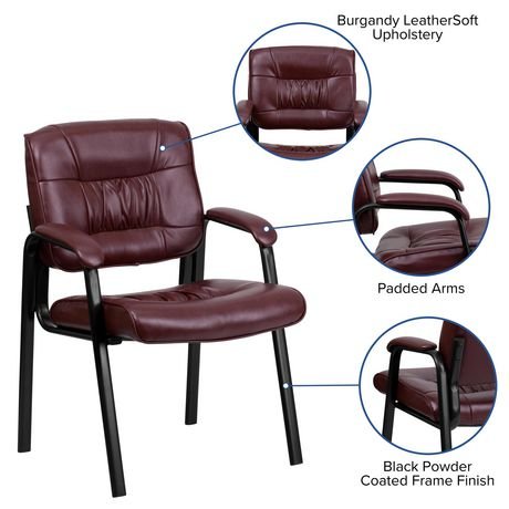Burgundy Leather Executive Side Reception Chair with Black Metal Frame - image 5 of 5
