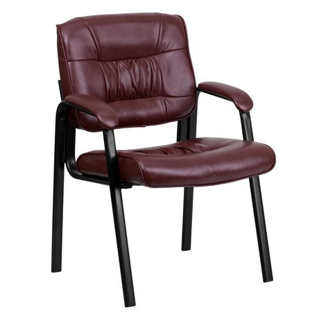 Burgundy Leather Executive Side Reception Chair with Black Metal Frame - image 1 of 5