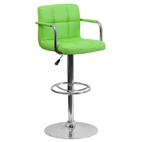 Incredible Contemporary Green Quilted Vinyl Adjustable Height Barstool With Arms And Chrome Base Gmtry Best Dining Table And Chair Ideas Images Gmtryco