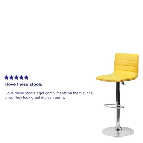 Contemporary Yellow Vinyl Adjustable Height Barstool with Horizontal Stitch Back and Chrome Base - image 4 of 4