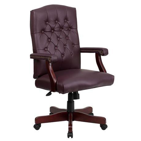 Martha Washington Burgundy Leather Executive Swivel Chair with Arms - image 1 of 4