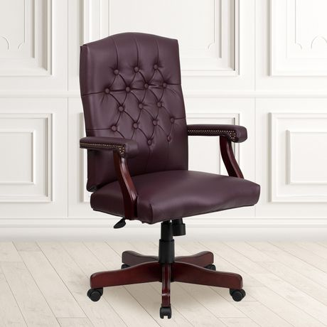 Martha Washington Burgundy Leather Executive Swivel Chair with Arms - image 2 of 4
