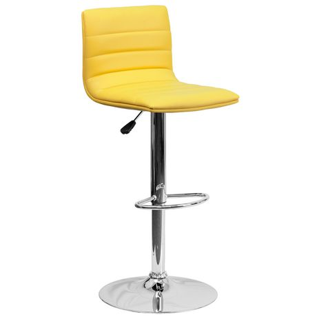 Contemporary Yellow Vinyl Adjustable Height Barstool with Horizontal Stitch Back and Chrome Base - image 1 of 4