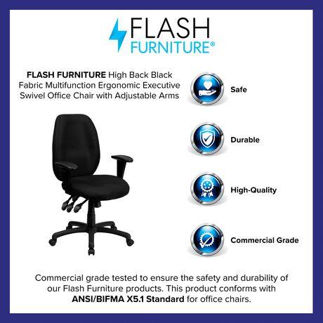 Chaise exécutive ergonomique pivotante multifonctions en tissu noir à dossier haut avec appui-bras réglable - image 4 de 4
