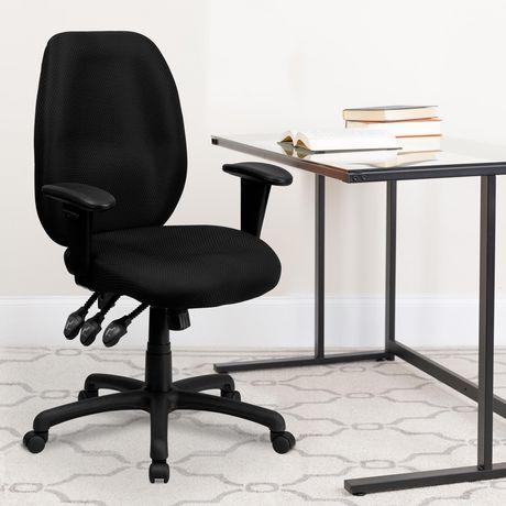Chaise exécutive ergonomique pivotante multifonctions en tissu noir à dossier haut avec appui-bras réglable - image 2 de 4