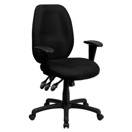 Chaise exécutive ergonomique pivotante multifonctions en tissu noir à dossier haut avec appui-bras réglable - image 1 de 4