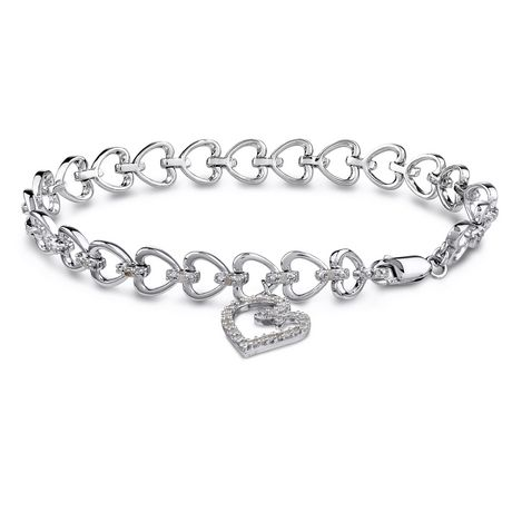 "Miabella 0.50 Carat T.W. Diamond Sterling Silver Multi-Heart Link Bracelet, 7"" - image 1 of 5"