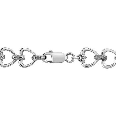 "Miabella 0.50 Carat T.W. Diamond Sterling Silver Multi-Heart Link Bracelet, 7"" - image 3 of 5"
