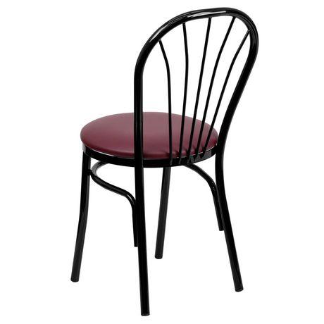 HERCULES Series Fan Back Metal Chair - Burgundy Vinyl Seat - image 4 of 4