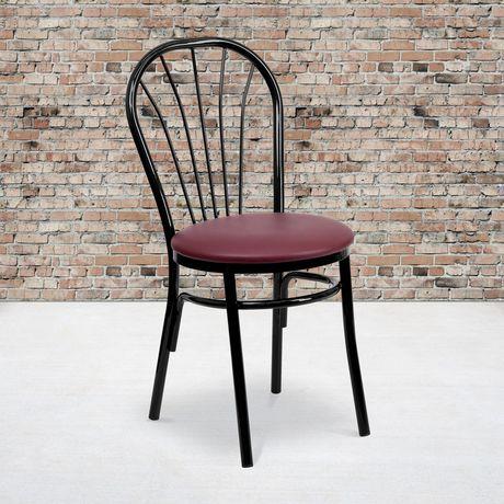 HERCULES Series Fan Back Metal Chair - Burgundy Vinyl Seat - image 2 of 4