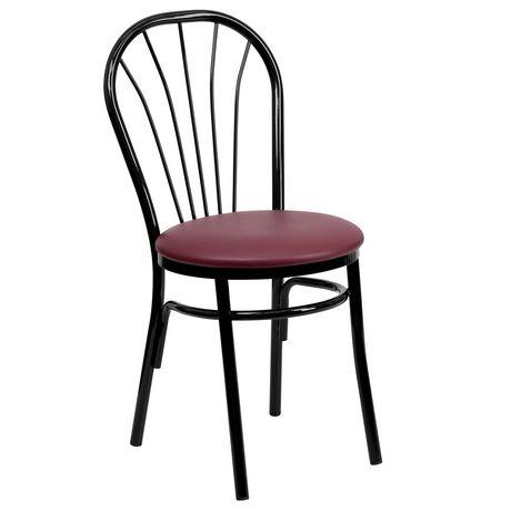 HERCULES Series Fan Back Metal Chair - Burgundy Vinyl Seat - image 1 of 4