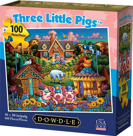Dowdle Jigsaw Puzzle - Three Little Pigs - 100 Piece - image 1 of 3
