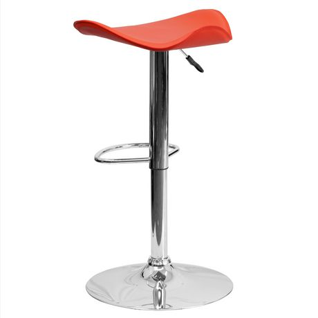 Contemporary Orange Vinyl Adjustable Height Barstool with Wavy Seat and Chrome Base - image 4 of 4