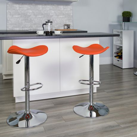 Contemporary Orange Vinyl Adjustable Height Barstool with Wavy Seat and Chrome Base - image 2 of 4