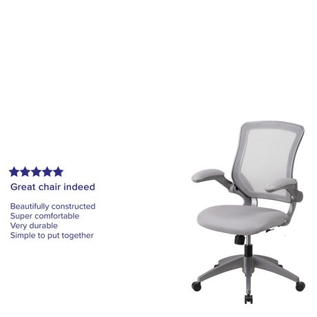 Mid-Back Black Mesh Swivel Task Chair with Gray Frame and Flip-Up Arms - image 5 of 6