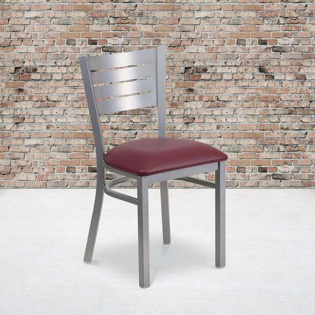 Chaise de restaurant en métal argenté de la série HERCULES avec dossier à lattes - siège en vinyle bourgogne - image 2 de 4