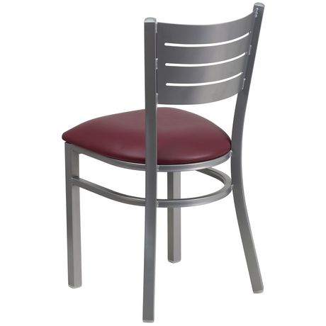 Chaise de restaurant en métal argenté de la série HERCULES avec dossier à lattes - siège en vinyle bourgogne - image 4 de 4