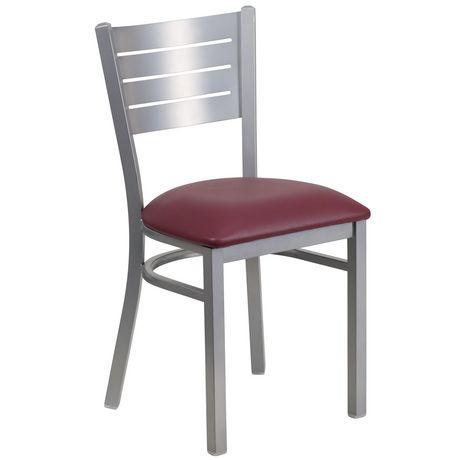 Chaise de restaurant en métal argenté de la série HERCULES avec dossier à lattes - siège en vinyle bourgogne - image 1 de 4